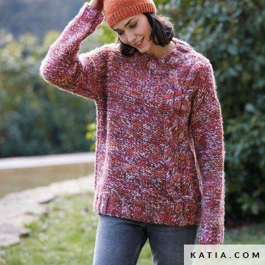 pattern knit crochet woman sweater autumn winter katia 6139 1 p
