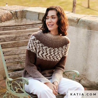 pattern knit crochet woman sweater autumn winter katia 6139 22 p
