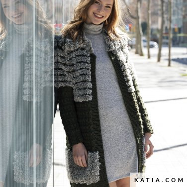 pattern knit crochet woman coat autumn winter katia 6140 24 p