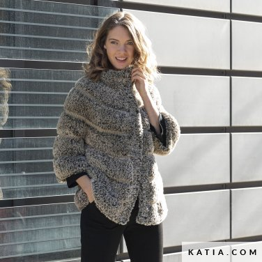 pattern knit crochet woman jacket autumn winter katia 6140 10 p
