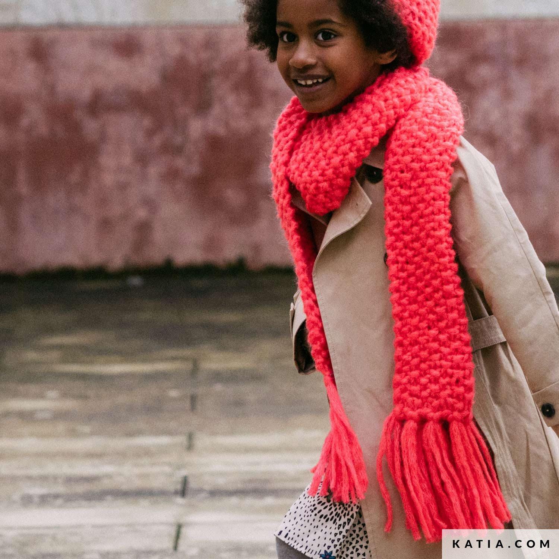 pattern knit crochet kids scarf autumn winter katia 6141 14 g