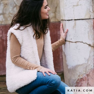 pattern knit crochet woman vest autumn winter katia 6141 24 p