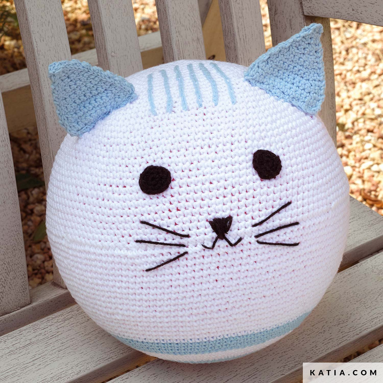 SALE Purple Cat In Blue Hat - Hand-Knitted Cat Toy Amigurumi Cat ... | 1500x1500