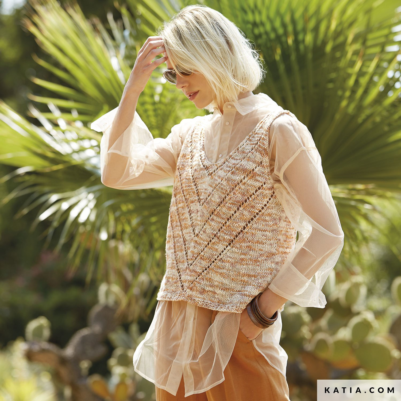 pattern knit crochet woman top spring summer katia 6166 11 g