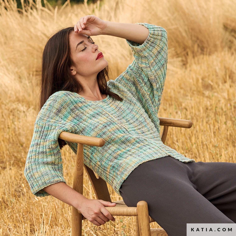 patroon breien haken dames trui lente zomer katia 6167 14 g