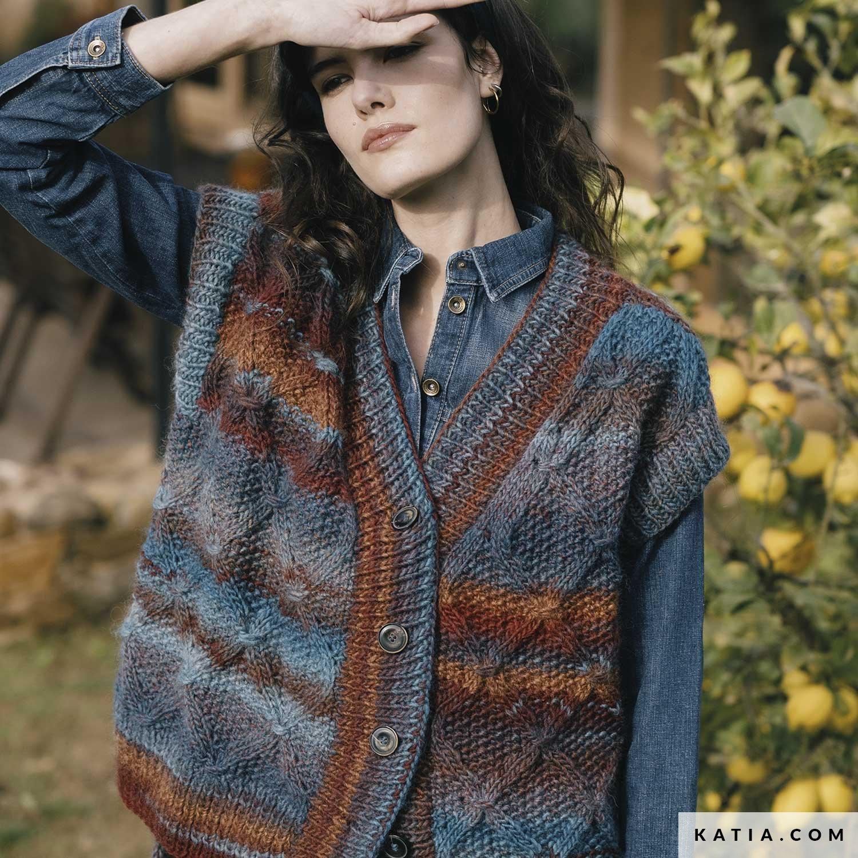 patroon breien haken dames vest herfst winter katia 6183 25 g