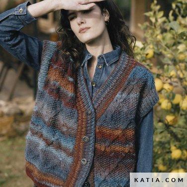 patroon breien haken dames vest herfst winter katia 6183 25 p