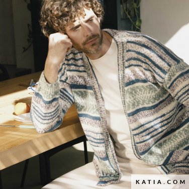 patroon breien haken heren jas herfst winter katia 6183 8 p