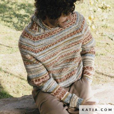 patroon breien haken heren trui herfst winter katia 6183 30 p
