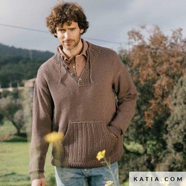 patroon breien haken heren trui herfst winter katia 6183 5 p