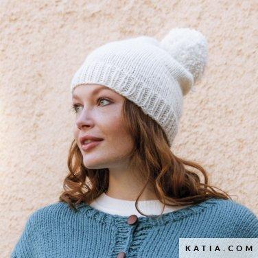 patroon breien haken dames muts herfst winter katia 6184 2 p