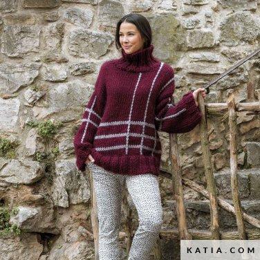patroon breien haken dames trui herfst winter katia 6184 15 p