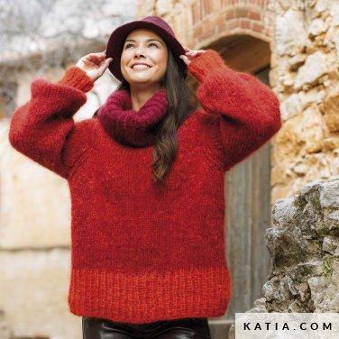 patroon breien haken dames trui herfst winter katia 6184 16 p