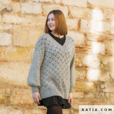 patroon breien haken dames trui herfst winter katia 6184 24 p