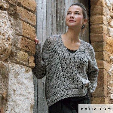 patroon breien haken dames trui herfst winter katia 6184 30 p