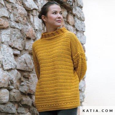 patroon breien haken dames trui herfst winter katia 6184 6 p