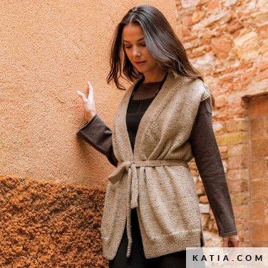 patroon breien haken dames vest herfst winter katia 6184 32 p