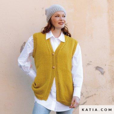 patroon breien haken dames vest herfst winter katia 6184 4 p