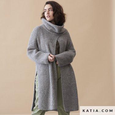 patroon breien haken dames jas herfst winter katia 6185 25 p