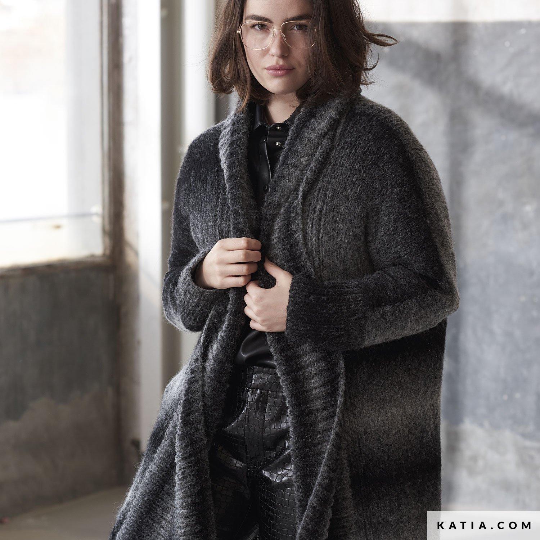 patroon breien haken dames jas herfst winter katia 6185 35 g