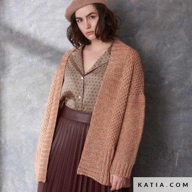 patroon breien haken dames jas herfst winter katia 6185 45 p