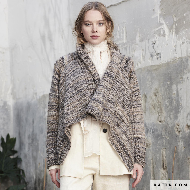 patroon breien haken dames jas herfst winter katia 6185 47 g