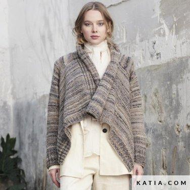 patroon breien haken dames jas herfst winter katia 6185 47 p