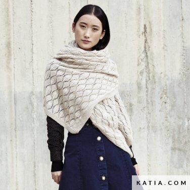 patroon breien haken dames stola herfst winter katia 6185 3 p