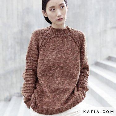 patroon breien haken dames trui herfst winter katia 6185 11 p