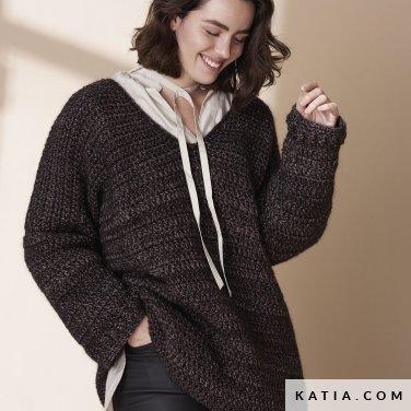 patroon breien haken dames trui herfst winter katia 6185 18 p