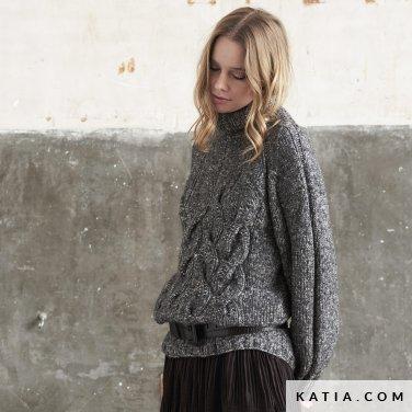 patroon breien haken dames trui herfst winter katia 6185 30 p