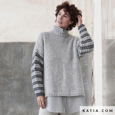 patroon breien haken dames trui herfst winter katia 6185 34 p