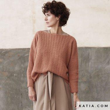 patroon breien haken dames trui herfst winter katia 6185 39 p