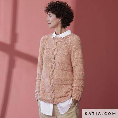 patroon breien haken dames trui herfst winter katia 6185 42 p