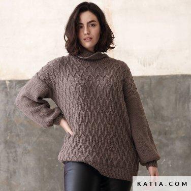 patroon breien haken dames trui herfst winter katia 6185 48 p