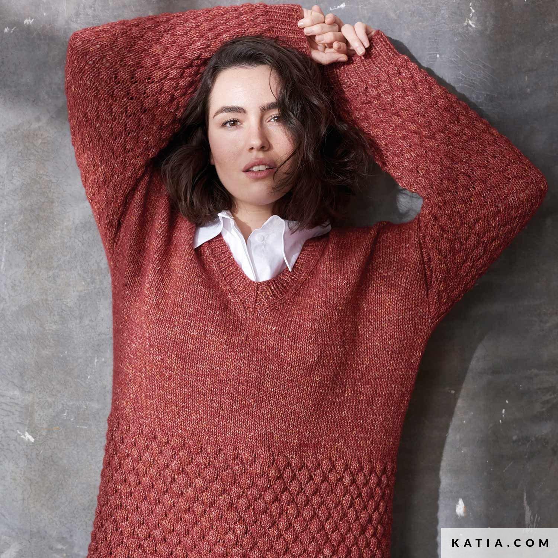 patroon breien haken dames trui herfst winter katia 6185 51 g
