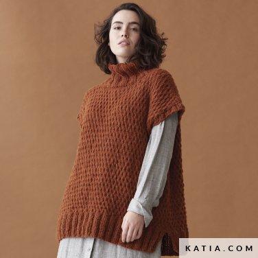 patroon breien haken dames vest herfst winter katia 6185 36 p