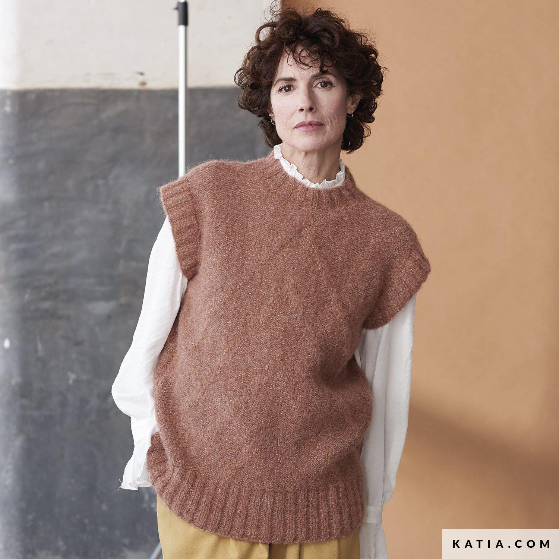 patroon breien haken dames vest herfst winter katia 6185 41 g