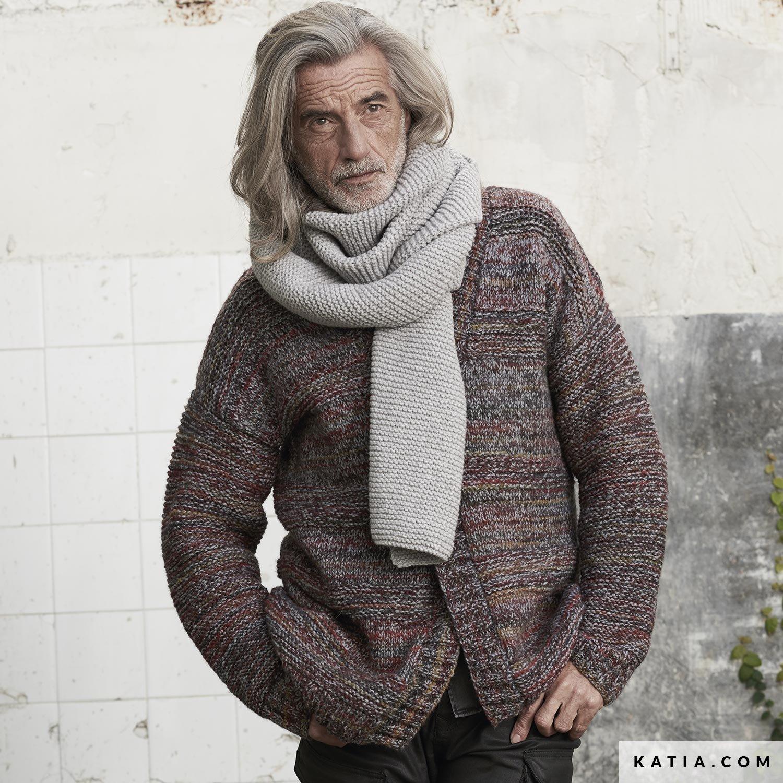 patroon breien haken heren set herfst winter katia 6185 49 g