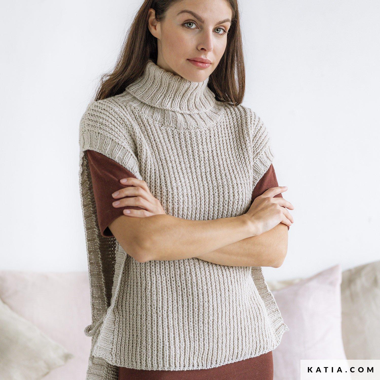 patroon breien haken dames vest herfst winter katia 6186 2 g