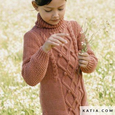 patroon breien haken kinderen jurk herfst winter katia 6188 3 p