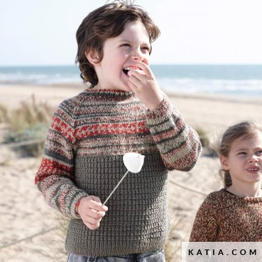 anleitung stricken hakeln kinder pullover herbst winter katia 6231 2 p
