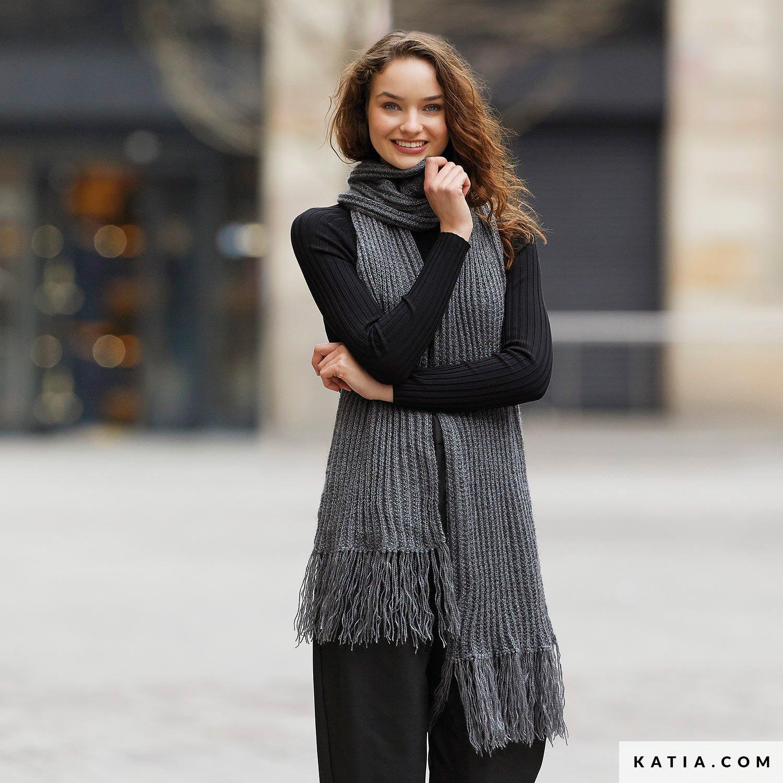 patroon breien haken dames sjaal herfst winter katia 6234 36 g