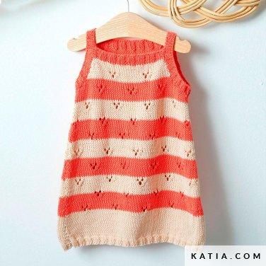 patroon breien haken baby jurk lente zomer katia 6252 6 p