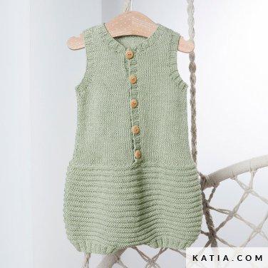 patroon breien haken baby kleed aap lente zomer katia 6252 21 p
