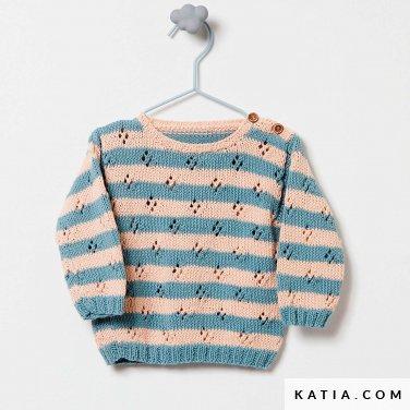 patroon breien haken baby trui lente zomer katia 6252 3 p