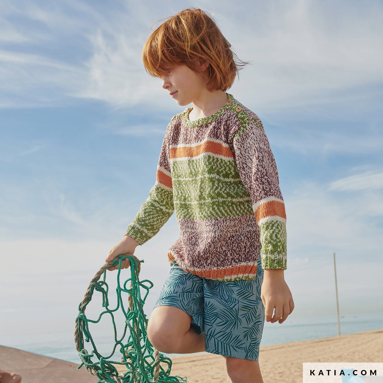 patroon breien haken kinderen trui lente zomer katia 6253 8 g