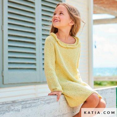 anleitung stricken hakeln kinder kleid fruhjahr sommer katia 6254 8 p