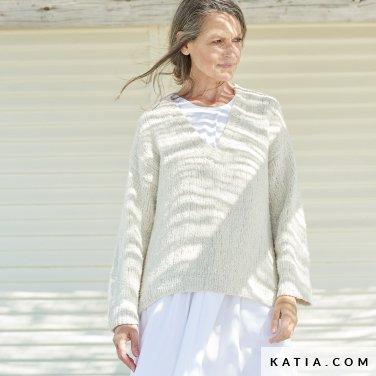 patroon breien haken dames trui lente zomer katia 6254 1 p