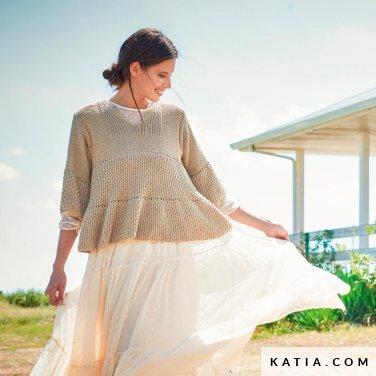 patroon breien haken dames trui lente zomer katia 6254 11 p